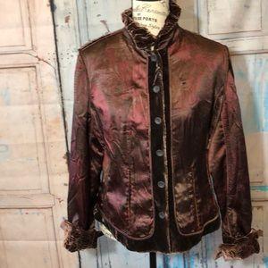 Elie Tahari Velvet & Silk Reversible Blazer Jacket